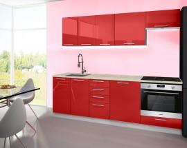 Emilia - Kuchyňský blok A, 240 cm (červená, PD travertin světlý)