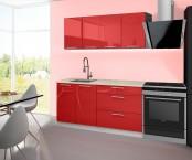 Emilia - Kuchyňský blok B, 160 cm (červená, PD travertin světlý)