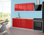 Emilia - Kuchyňský blok B, 180 cm (červená, PD travertin světlý)