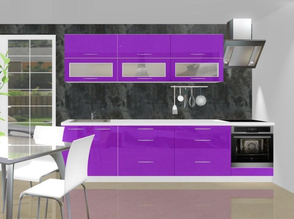Emilia - Kuchyňský blok B pro vest. troubu, 3 m (fialová lesk)