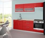 Emilia - Kuchyňský blok C, 220 cm (červená, PD travertin světlý)