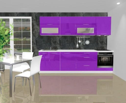 Emilia - Kuchyňský blok C pro vest. troubu, 2,8 m (fialová lesk)