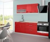 Emilia - Kuchyňský blok D, 160/220 (červená, travertin světlý)