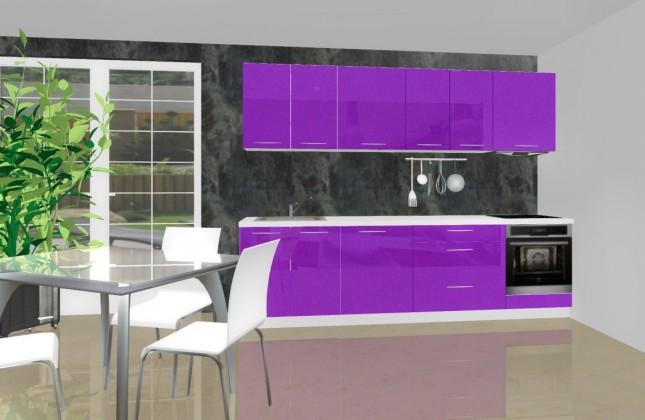 Emilia - Kuchyňský blok D pro vest. troubu, 2,8 m (fialová lesk)