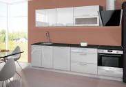 Emilia - Kuchyňský blok E, 220/280 cm (bílá, PD černá)