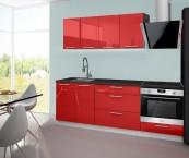 Emilia - Kuchyňský blok F, 160/220 (červená, travertin světlý)