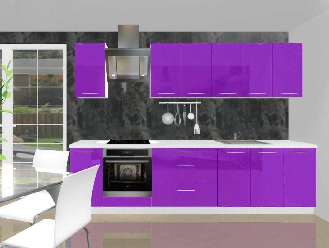 Emilia - Kuchyňský blok H pro vest. troubu, 3 m (fialová lesk)