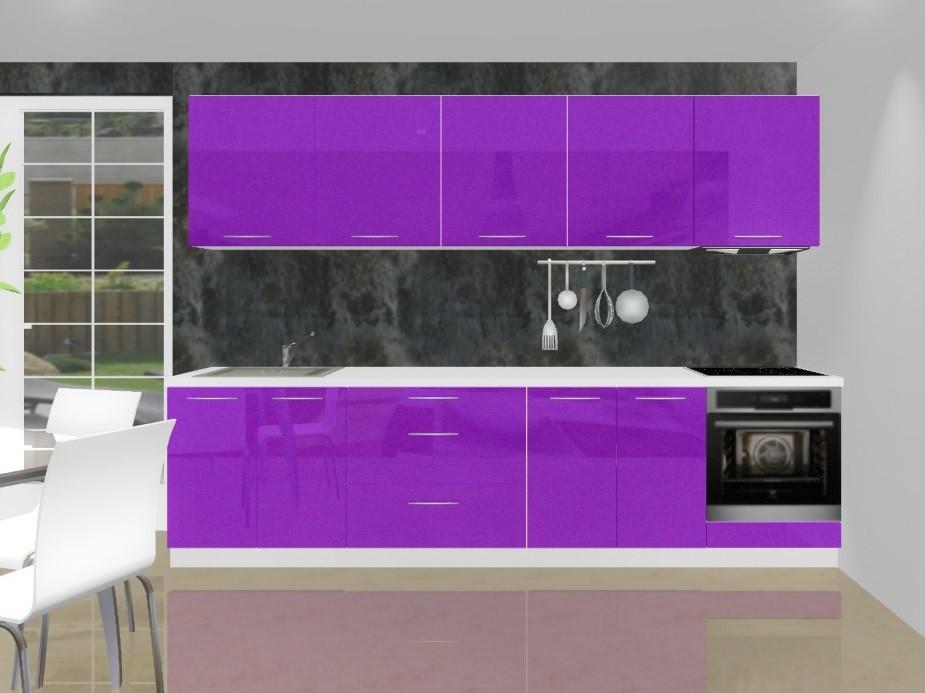 Emilia - Kuchyňský blok K pro vest. troubu, 3 m (fialová lesk)