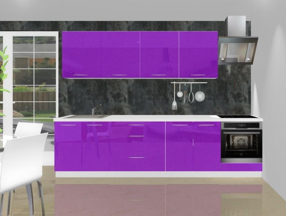 Emilia - Kuchyňský blok L pro vest. troubu, 3 m (fialová lesk)