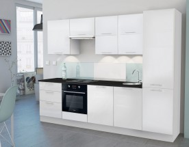 Emilia - Kuchyňský blok O, 300 cm (bílá, PD černá)
