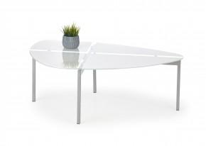 Erika - Konferenční stolek (bílé sklo, chromové nohy)