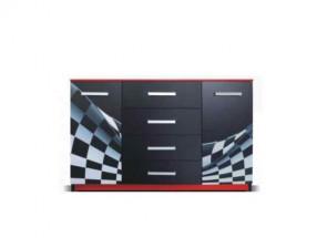 F1 carbon - Komoda (F1 carbon, 2x dveře, 4x zásuvka)