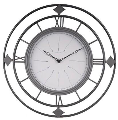 Fence - hodiny, nástěnné, kulaté (kov, sklo, černé)
