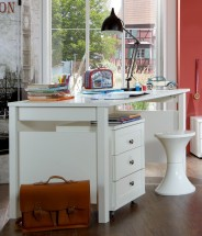 Filou - Pracovní stůl, mobilní regál (alpská bílá)