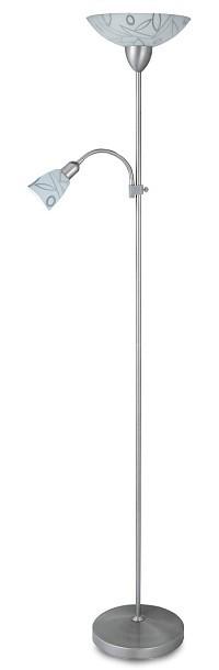 Flower - Lampa,E27 (bílý vzor/hedvábně lesklá chromová)