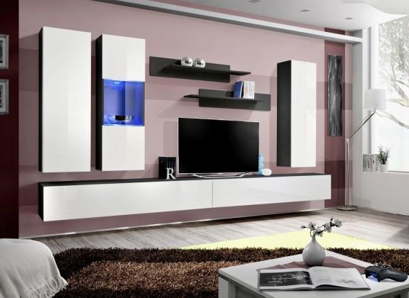 Fly E5 Stěna, vitrína, 2x skříň, 2xpolice (černý mat/bílý lesk)