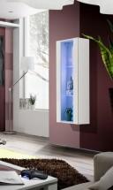 Fly - vitrína, 2xpolice, LED (bílý mat/bílý lesk)