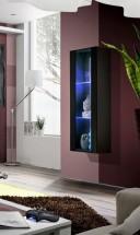 Fly - vitrína, 2xpolice, LED (černý mat/černý lesk)