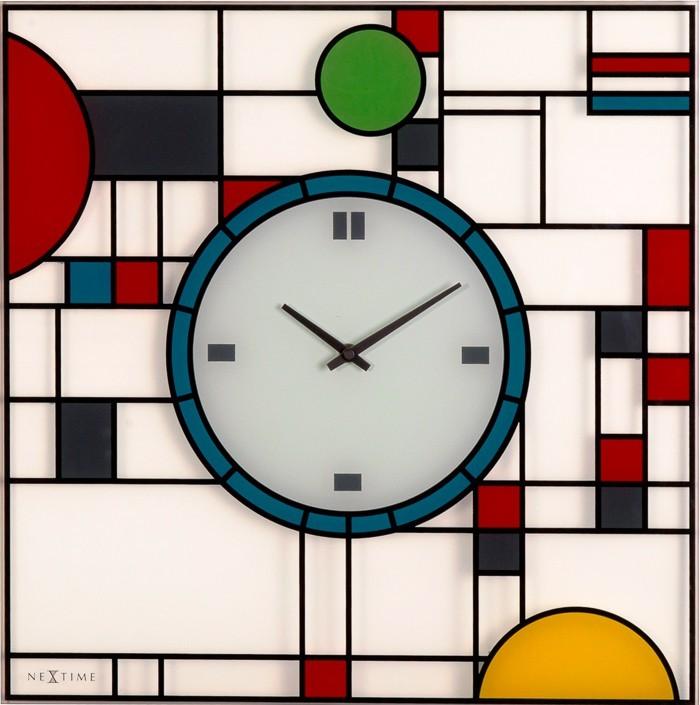 Frank - hodiny, nástěnné, hranaté (sklo, barevné)