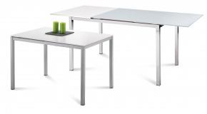 Full - Jídelní stůl (saténový hliník, bílá matná)