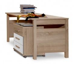 Game - Pracovní stůl, mobilní komoda (bílá, dub)