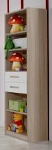 Game - Regál, 4x police, 2x zásuvka (bílá, dub)