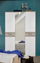 Game - Skříň, 2 dveřová, se zrcadlem (bílá, dub)