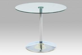 GDT - Jídelní stůl, čiré sklo/chrom (90x75x90 cm)