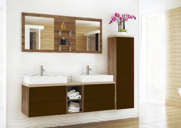 Genova - Koupelnová sestava,2 umyvadla (hnědá,boky tm.bříza)