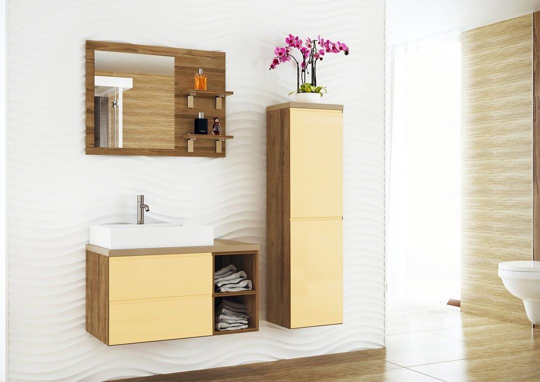 Genova-Koupelnová sestava s umyvadlem (vanilková,boky tm.bříza)