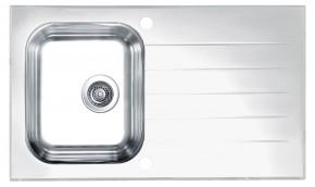 Glassix 10 - Dřez, včetně sifonu, bílá (nerez - tvrzené sklo)