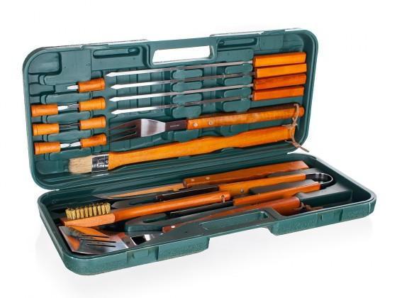 Gril, příslušenství Sada BBQ náčiní v kufříku, 18 dílů (dřevo, nerez)