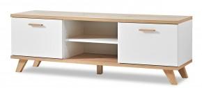 GW-Oslo - TV stolek, 2x dveře, 1x police (bílá,dub sanremo)