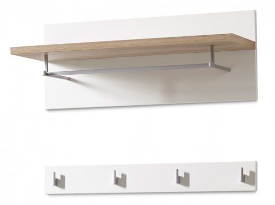 GW-Oslo - Věšákový panel, 1x police, 4xháček (bílá,dub sanremo)