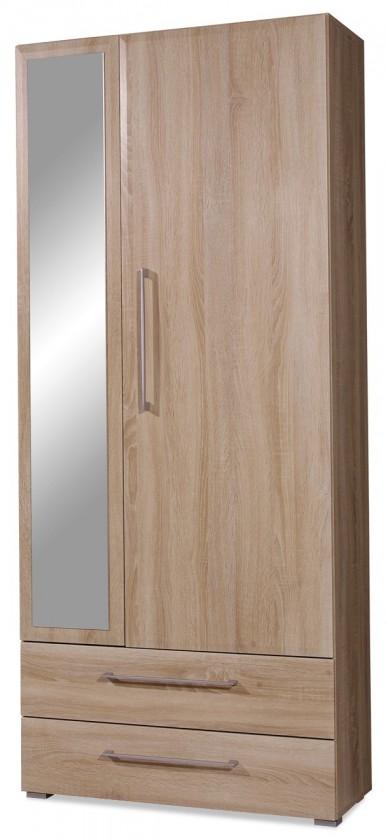 GW-Prisma - Skříň se zrcadlem, 2x zásuvka (dub sonoma)