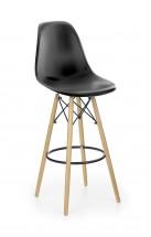 H-51 - Barová židle, masivní dřevo, černá