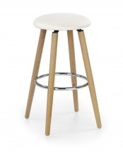 H-76 - Barová židle, masivní bukové dřevo, béžová