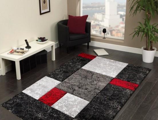 Hawaii - koberec, 290x200cm (100%PP friese, černočervená)