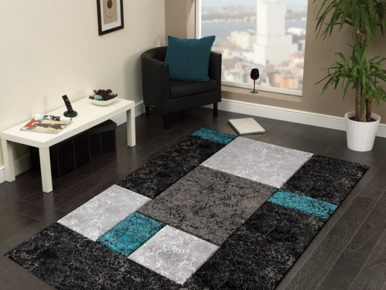 Hawaii - koberec, 290x200cm (100%PP friese, černotyrkysová)