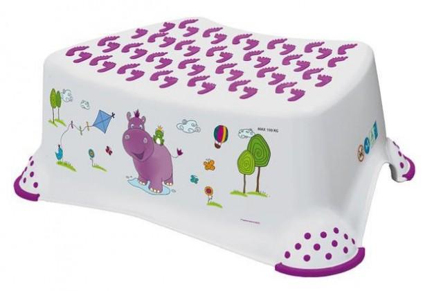 Hippo - schůdek dětský (bílý, fialový obrázek)