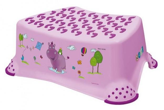 Hippo - schůdek dětský (růžový, fialový obrázek)