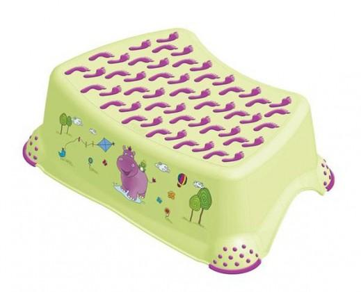 Hippo - schůdek dětský (zelený, fialový obrázek)