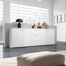 Hugo - Komoda, 4x dveře, 3x zásuvka (bílá)