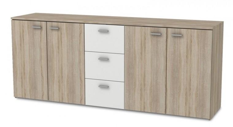 Hugo - Komoda, 4x dveře, 3x zásuvka (dub sonoma/bílá)