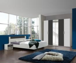Ilona - Komplet 2, postel 160 cm (alpská bílá, antracit)