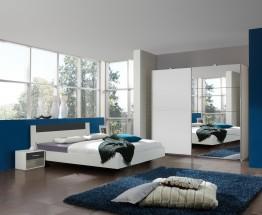 Ilona - Komplet 4, postel 140 cm (alpská bílá, antracit)