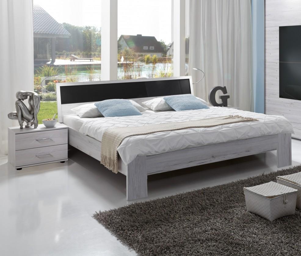Istrien - komplet, postel 180cm (bílý dub, šedé sklo)