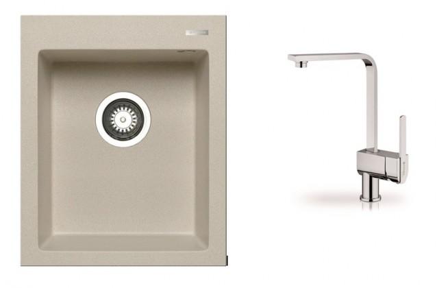 Istros - Granitový dřez 41x50 (béžová) + baterie Espressivo