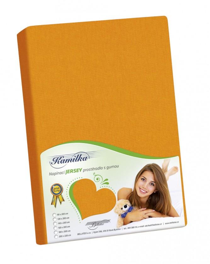 Jersey prostěradlo 90x200 oranžová