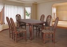 Jídelní set 19 - Stůl 160x90,6x židle (ořech střední/dakota 3)